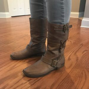 72e507c4a60 ... Women Tan Danielle Leather JustFab Boots Size 7.5 ...